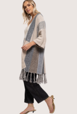 BLU PEPPER Taupe and Gray Short Sleeve Cardigan