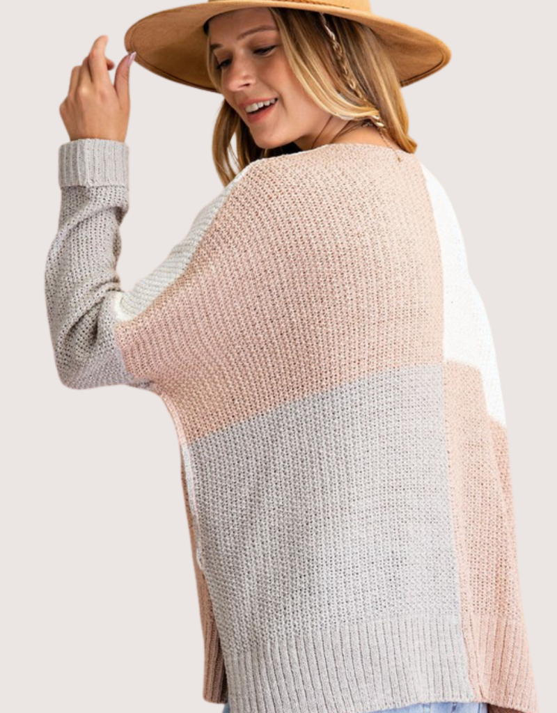 Mauve Grey LS Knitted Sweater