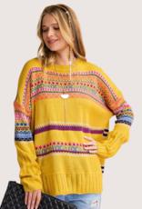 Mustard Boho Patterened Knitted Sweater