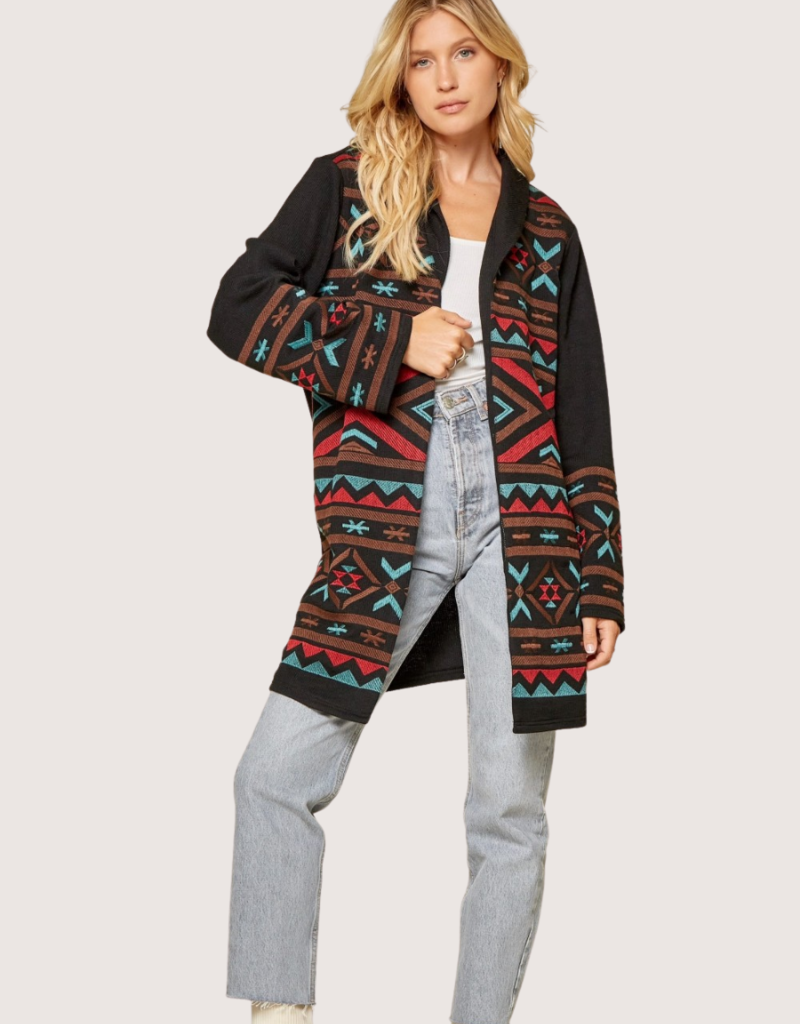 ANDREE BY UNIT Black Embroidered Open Front Jacket