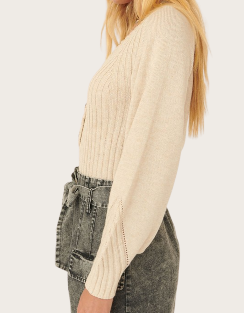 PROMESA Ivory Puffed Sleeve Ribbed Knit Top