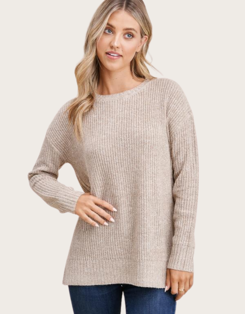 STACCATO Oatmeal LS Crew Neck Sweater