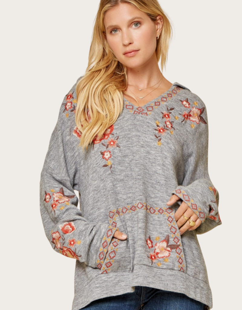 ANDREE BY UNIT Hooded Grey Embroidered Top with Kangaroo Pocket