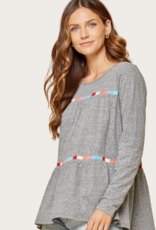 ANDREE BY UNIT Charcoal Round Neck LS Top