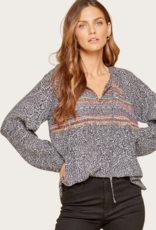 ANDREE BY UNIT Charcoal Embroidered Top