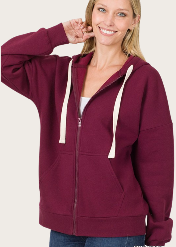 ZENANA Burgundy Zipper Hoodie Jacket