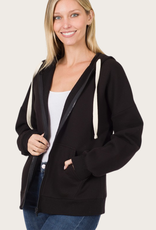 ZENANA Black Zipper Hoodie Jacket