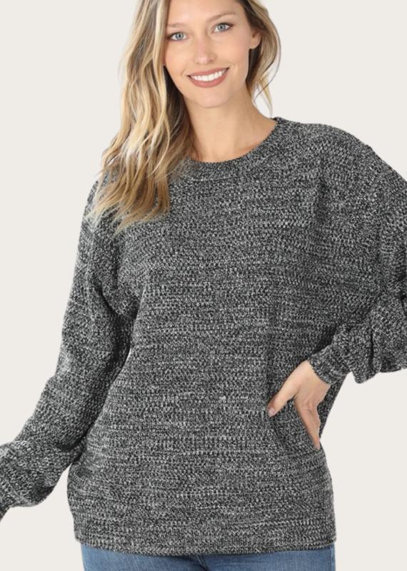 ZENANA Charcoal Ballon Sleeve Melange Sweater