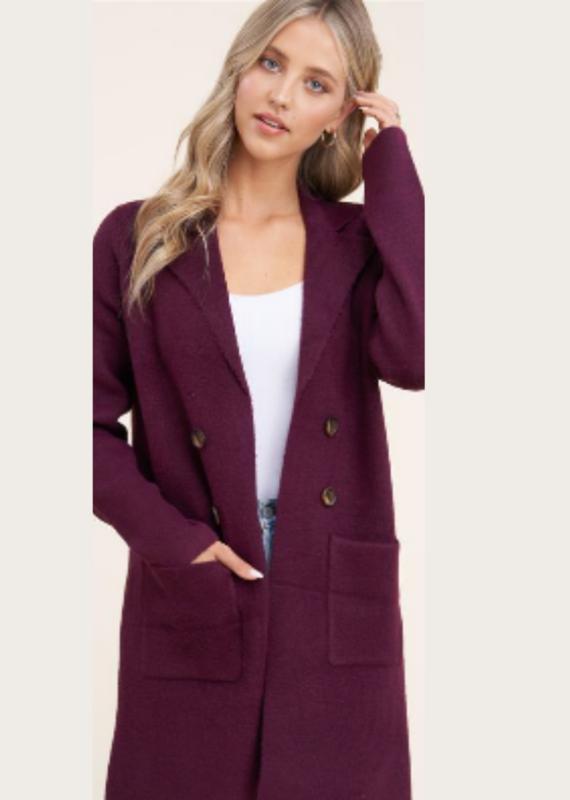 STACCATO Plum Tailored Collar Cardigan