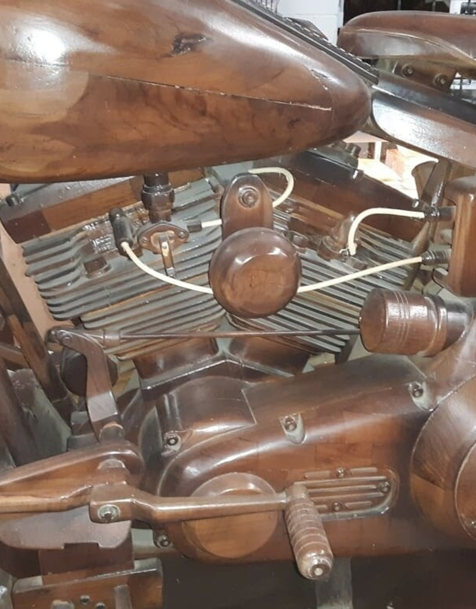 WOOD MOTORCYCLE - TEAK MAHOGANY HAND CRAFTED INDONESIA