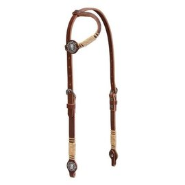 WEAVER WESTERN BRIDLE SLIDING EAR WITH CONCHOS AND RAWHIDE