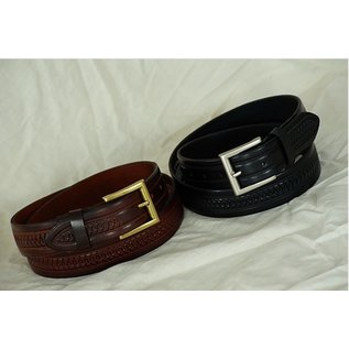 BRIAN HAMILTON MENS BELT SHARK TEETH EMBOSSED