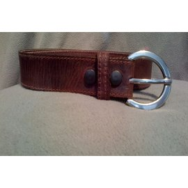 BRIAN HAMILTON LADIES BELT STICHED EDGES - BROWN LARGE