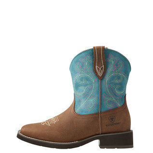 ARIAT ARIAT WOMENS SHASTA H2O COWBOY BOOTS IN BROWN/TURQUOISE