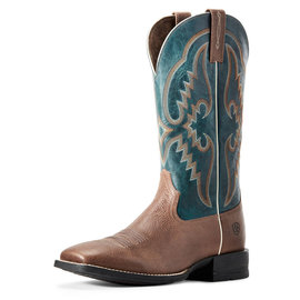ARIAT ARIAT SHOCK SHIELD ROUND PEN BOOT IN CLEAN SADDLE/MIDNIGHT BLUE