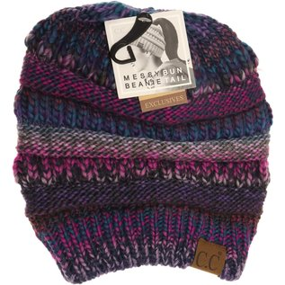 CC BEANIE CC BEANIE MESSY BUN MULTI COLOUR BEANIE PURPLE