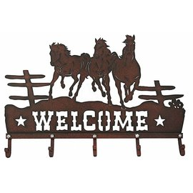 WESTERN MOMENTS WESTERN MOMENTS WELCOME SIGN & COAT HOOKS - RUNNING HORSES