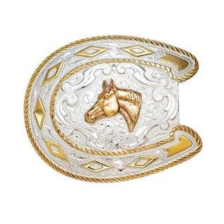 CRUMRINE CRUMRINE BELT BUCKLE - HORSE SHOE WITH HORSE HEAD