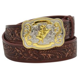 M&F WESTERN M&F WESTERN BOYS LEATHER BELT - FLORAL EMBOSSED