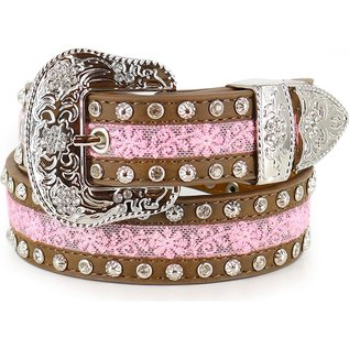 ANGEL RANCH ANGEL RANCH GIRLS LEATHER BELT - PINK SILVER STUDS AND CLEAR CRYSTALS