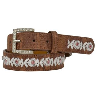 ANGEL RANCH ANGEL RANCH GIRLS LEATHER BELT - FLORAL EMBROIDERED LACE CRYSTALS