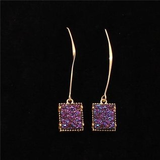 SILVER STRIKE COBALT BLUE DRUZY DROP SQUARE EARRINGS