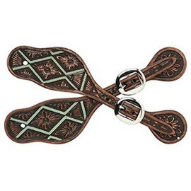 3D BELT WESTERN SPUR STRAPS - VINTAGE BROWN WITH TURQUOISE
