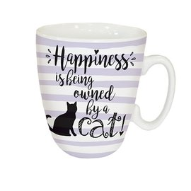 OTTER HOUSE CURVED MUG - HAPPINESS IS BEING OWNED BY A CAT