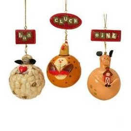 KURT ADLER FARM ANIMAL BALL ORNAMENTS