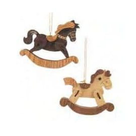 KURT ADLER WOODEN ROCKING HORSE ORNAMENTS