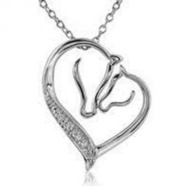 AWST RHODIUM PLATED MARE & FOAL NECKLACE