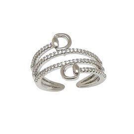 AWST RHODIUM PLATED/CUBIC ZIRCONIA SPIRAL SNAFFLE RING