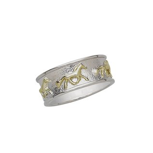 AWST TWO-TONE RUNNING HORSES STERLING SILVER RING