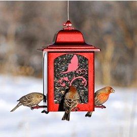 THE WILD BIRD TRADING CO RED SPARKLE LANTERN BIRD FEEDER