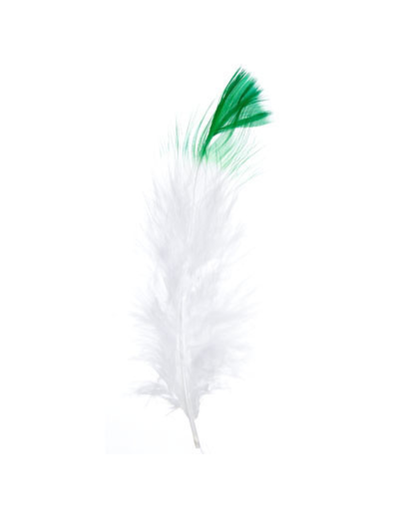 Marabou Feathers 4-6in White Green Tip  6g