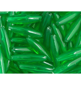 Spaghetti Beads 19x6mm Transparent Green x200