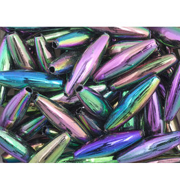 Spaghetti Beads 19x6mm Opaque Jet AB