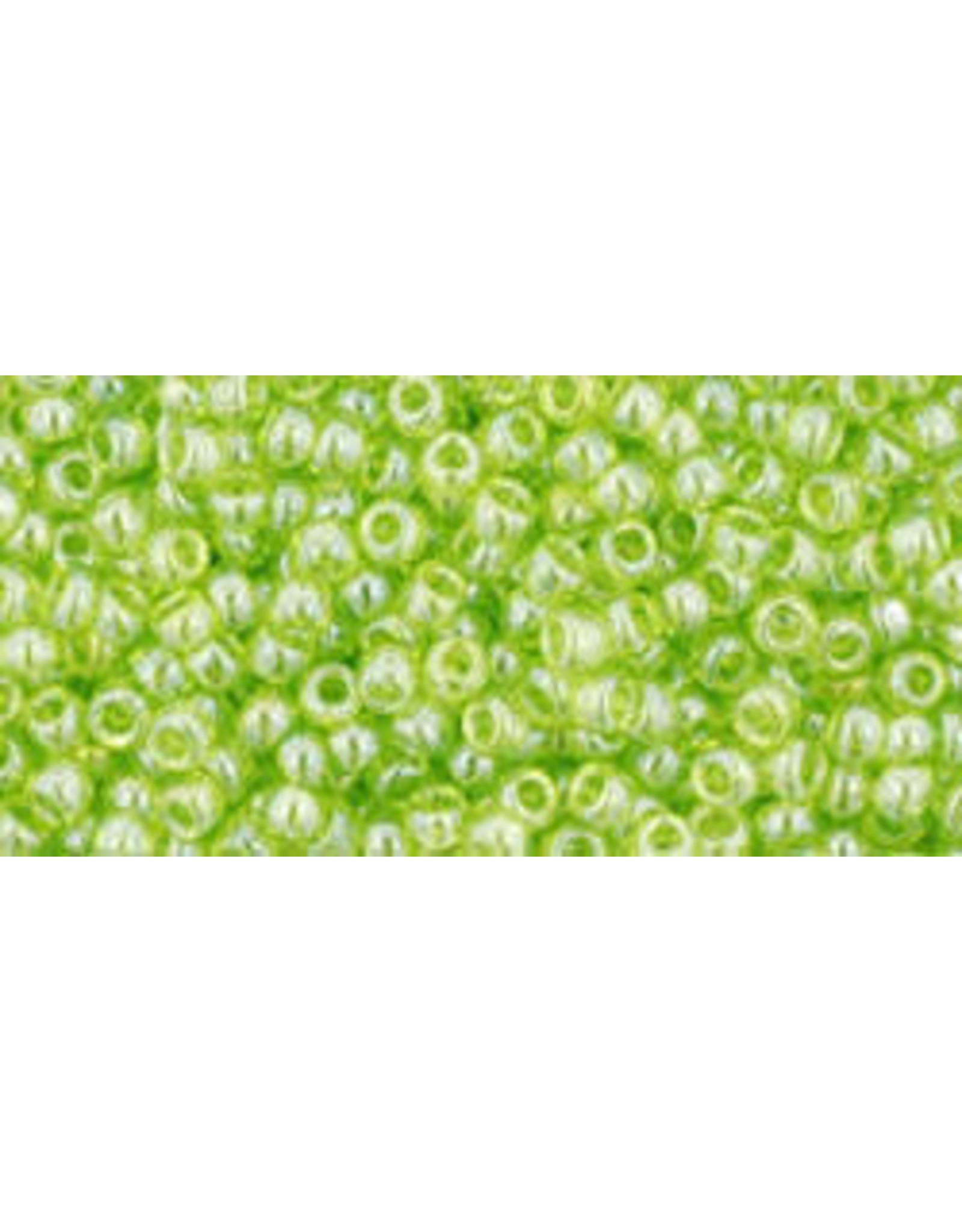 Toho 105 11  Round 6g Transparent Lime Green Lustre