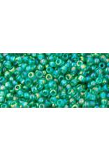Toho 164b 11  Round 6g Transparent Dark Peridot Green AB