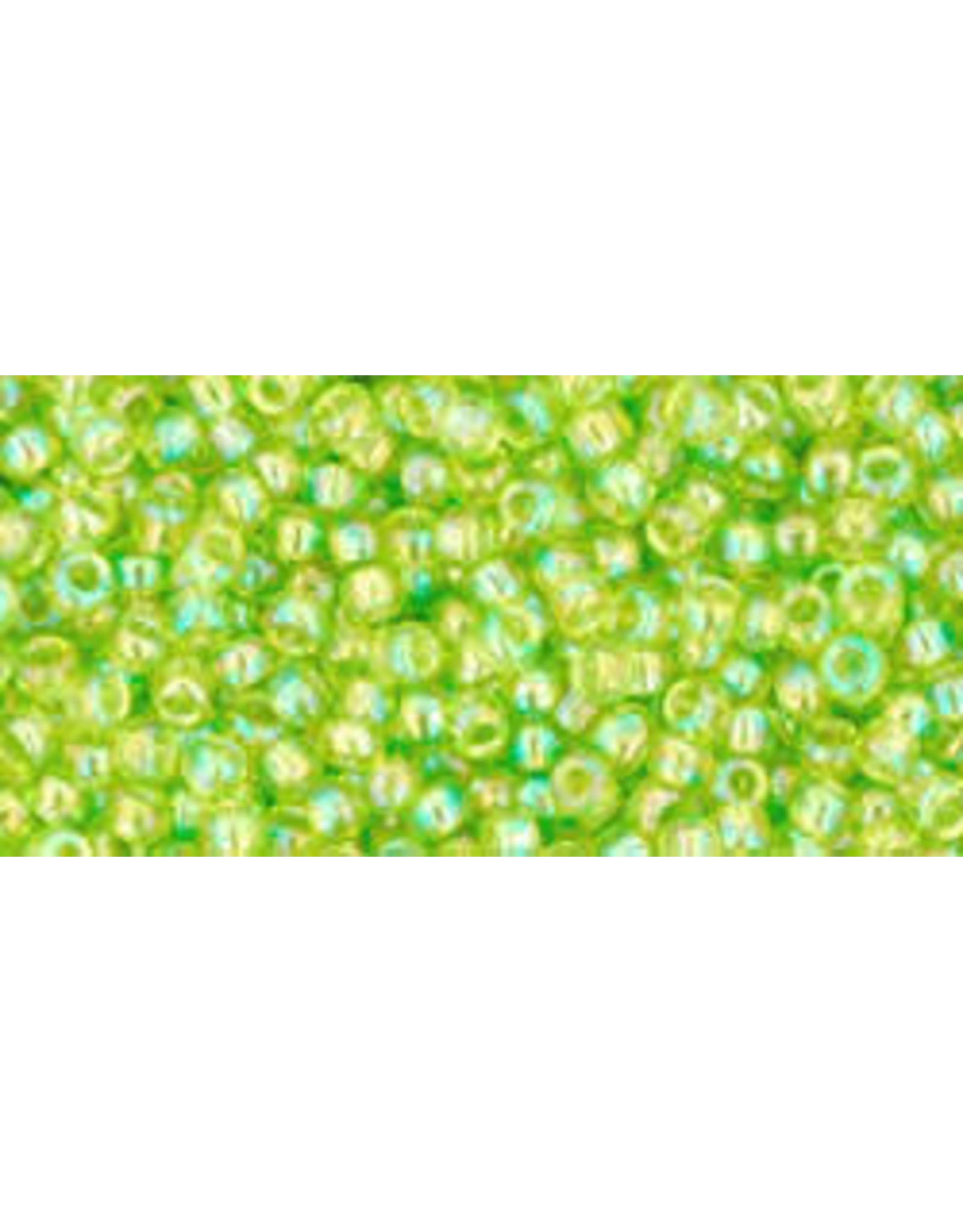 Toho 164B 11  Round 40g Transparent Lime Green AB