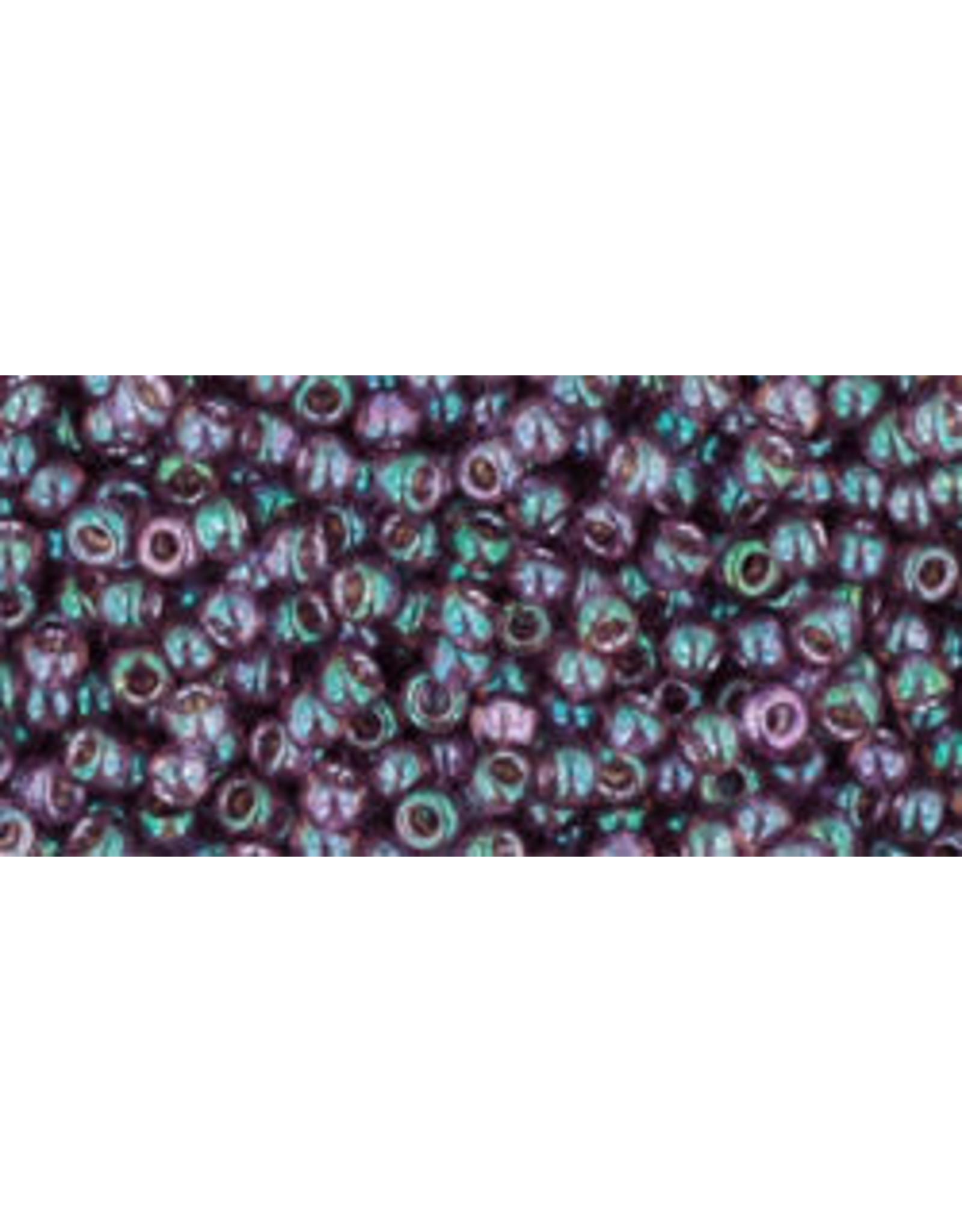 Toho 206B 11  Round Hydrangea Purple Gold Lustre