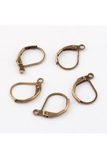 Ear Wire 10x15mm Lever Back Antique Brass x10