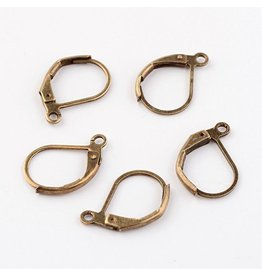 Ear Wire 10x15mm Lever Back Antique Brass x50