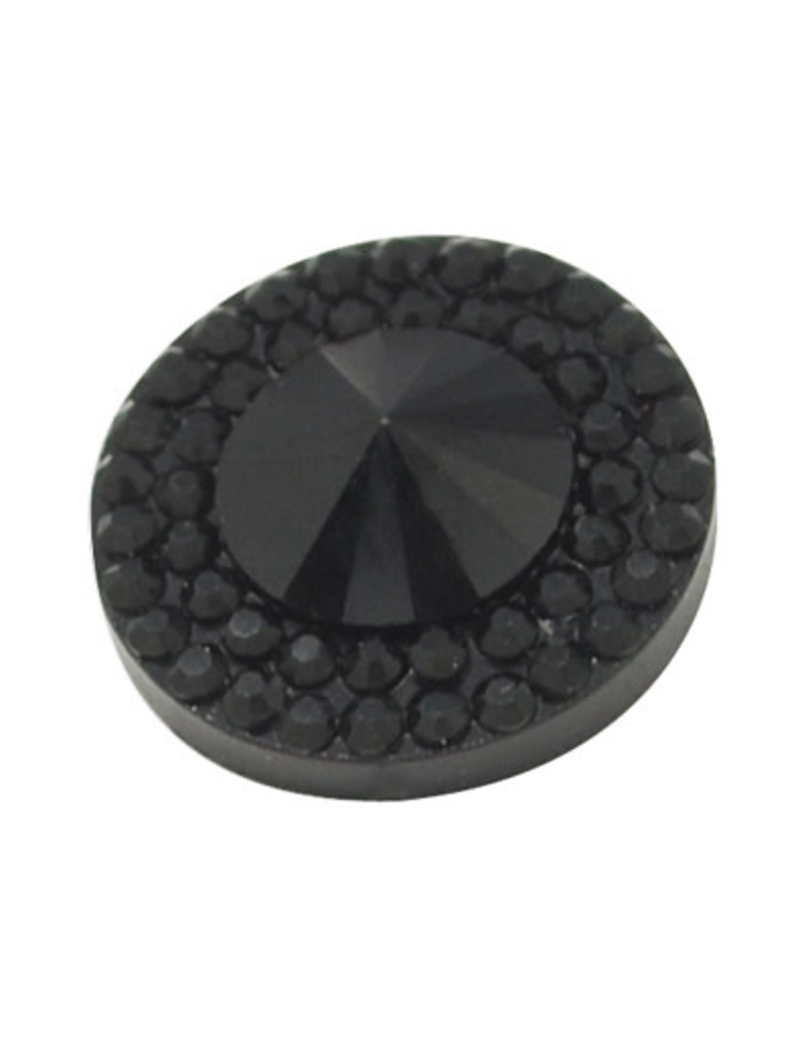 Pointy Round Resin Cabochon 10x4mm Jet Black x10