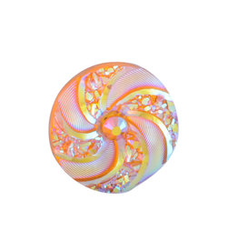 Swirl Round Resin Cabochon 16x3mm Orange x10