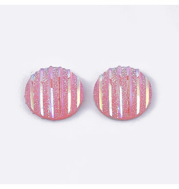 Stripes Round Resin Cabochon 12x3mm Pink x10