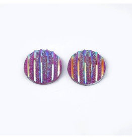 Stripes Round Resin Cabochon 12x3mm Medium Red x10