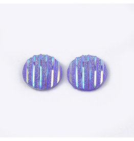 Stripes Round Resin Cabochon 12x3mm Purple Violet x10