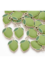 Lime Charm 20x14mm Lime Green Gold x10