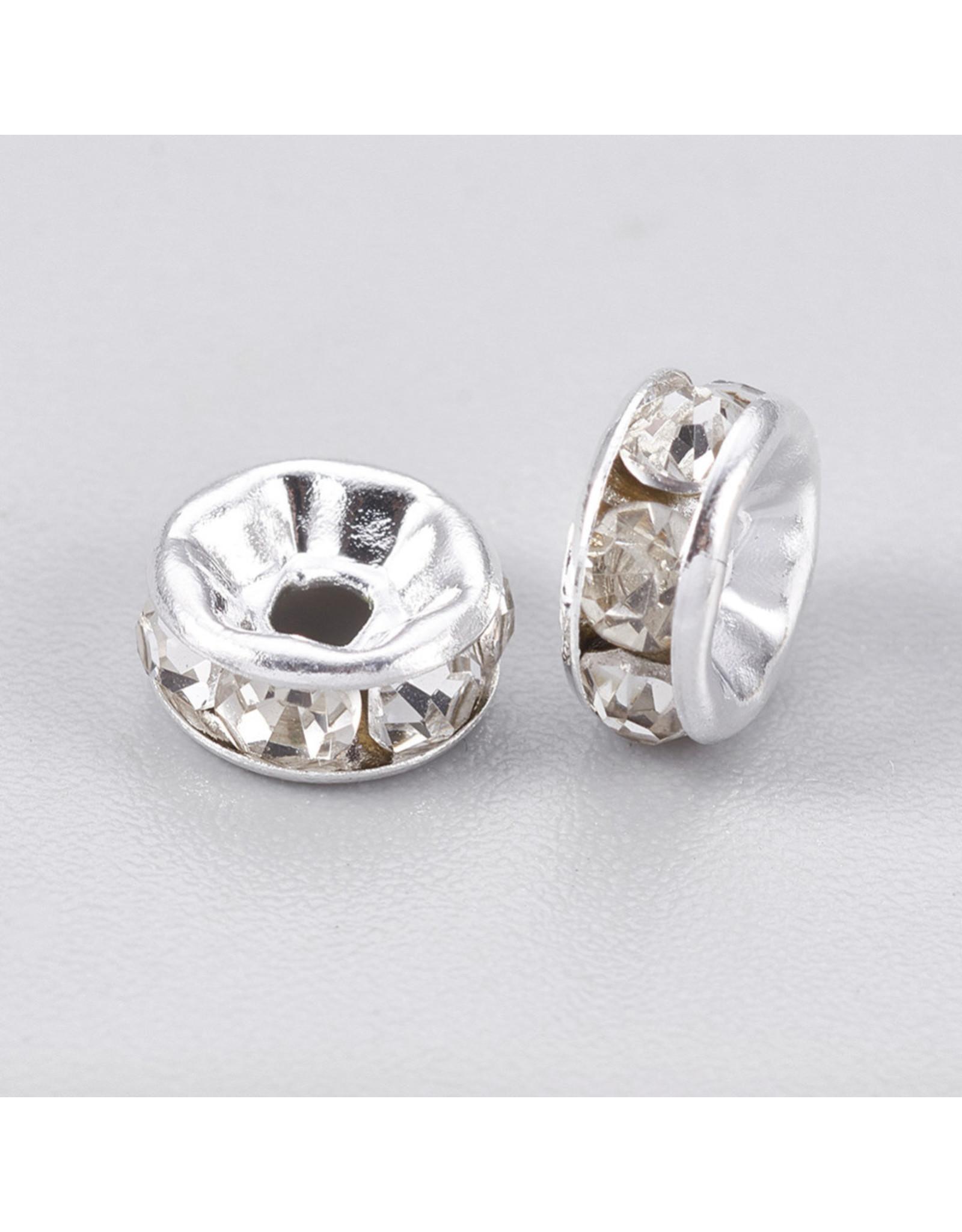 Rhinestone Rondelle Wedding Band 6mm Silver/Clear x100 Grade A